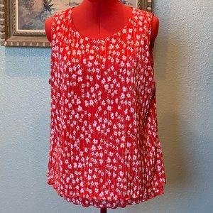 Banana Republic red crinkle swing blouse sz Lg